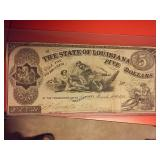 1863 authentic Confederate Louisiana $5 currency