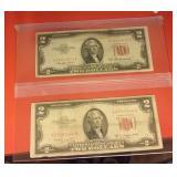 2 old 1957 red seal 2 dollar bills