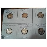 Six WW2 era silver Mercury Dimes NICE CONDITION