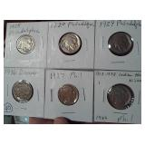 SIX different Buffalo Nickels all dated 1920-1936