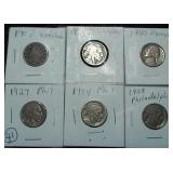 SIX old nickels 1907 to 1940