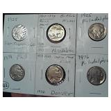 SIX different buffalo nickels dated 1913-1938