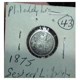 1875 P silver Seated Liberty Dime VG-F