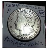 1884 Philadelphia US Morgan silver dollar