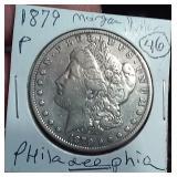 1879 Philadelphia US Morgan silver dollar