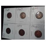 SIX old indian head pennies all different