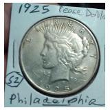 1925 Philadelphia US PEACE silver dollar XF