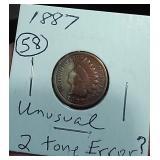 Weird rare? 1887 indian head penny 2 tone error?