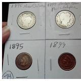 4 coins 2 Barber halfves & 2 pennies 1895 & 1899