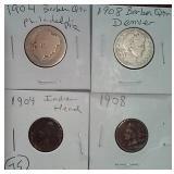4 coins 2 barber halves & 2 pennies 1904 1908
