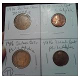 1914 1916 barber silver quarters + Lincoln cents