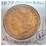 1879 Philadelphia Morgan US silver dollar fine