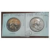 1957 & 1954 US Franklin silver half dollars PHIL