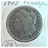 1902 Philadelphia Morgan US silver dollar