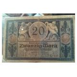 Old 1915 20 marks Germany currency