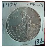 1984 1oz .999 silver American Prospector Engelhard