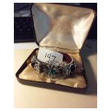 Filigree silver toned jeweled bracelet + OLD box
