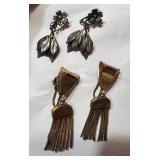 2 pair of earrings 1 brass 1 STERLING