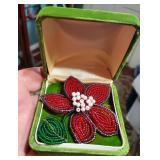 Antique beaded brooch poinsettia Christmas