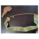 Green velvet gold tone choker necklace signed ART