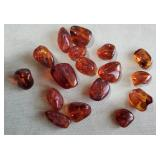 17 old natural amber beads