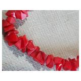 Awesome long necklace of RED CORAL beads
