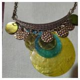 Vintage necklace translucent abalone lemon aqua