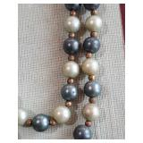 Large old vintage beaded necklace blue silver gold