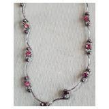 Elegant silver tone necklace w pink gemstones
