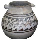 Contiguous Geometric Band Mimbres Handled Pot