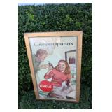 "Framed Cocal-Cola ""Coke Headquarters"" Sign"