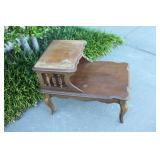Vintage Wooden Two-Tier Side Table-#1