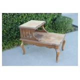 Vintage Wooden Two-Tier Side Table-#2