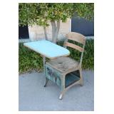 Antique School Desk/Chair Combination-#1