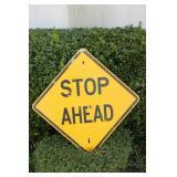 "Metal ""Stop Ahead"" Road Sign"