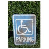 Vintage Handicap Parking Heavy Steel Sign #1