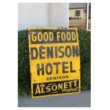 Porcelain Denison Hotel Alsonett Sign-Double Sided
