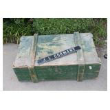 Interesting IDd Military Wooden Trunk w/ Name Tag