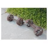 Antique Iron Pair of Cart Wheels & Axles