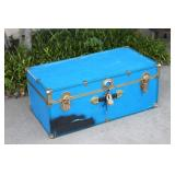Blue Foot Locker / Storage Trunk With Key