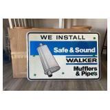 Walker Mufflers & Pipes Metal Sign - NOS