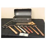 Vtg. Metal Toolbox Wth Nice Selection of Hammers