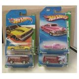 4 Hot Wheels Treasure Hunt Cars Mixed