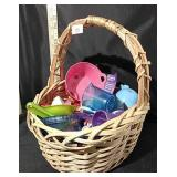 Basket of Toy Dishes