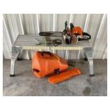 Stihl gas powered chain saw Model 018C w/ case and 3 extra chains