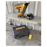 """DeWalt 15 gauge cordless nailer Model DC628 with battery, charging station and quantity of Porter Cable 15 gauge 1 1/2"""" finishing nails"""