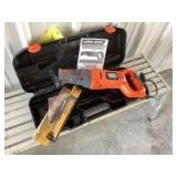 """Black and Decker reciprocating saw Model RS500, Sears Craftsman 6"""" multipurpose blade and quantity of DeWalt 8"""" blades"""