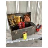 Craftsman toolbox with drill bits, tape measure, power wood boring bits, grinding wheels and much more