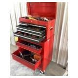 Contents of toolbox include screwdrivers, glue gun, Stanley pop rivet gun and rivets, tape measure, grease gun, holesaws, sockets, hammers. See all ph