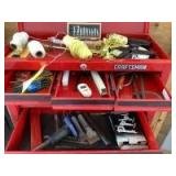 Contents of toolbox include X-Acto set, tape measures, threads, levels, flaring tool, hammers, combination wrenches, butane bottles See photos *Toolbo